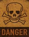 Plechová závěsná cedule - DANGER