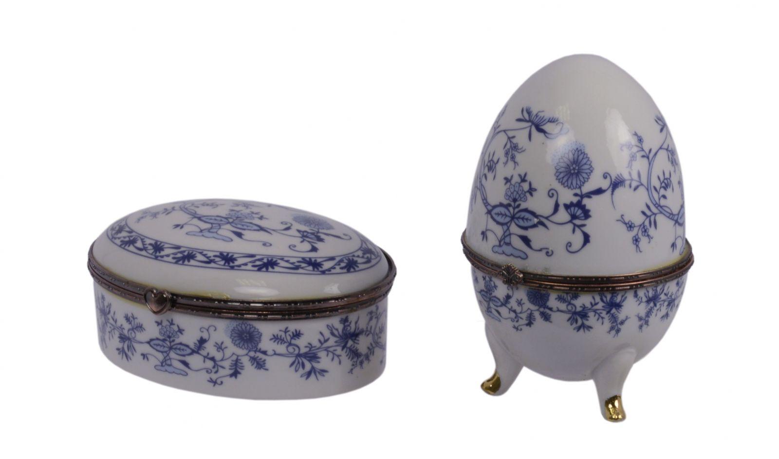 dvojice porcelánových dóz cibulákové