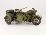 Plechový model - Armádní motocykl s postranním vozíkem