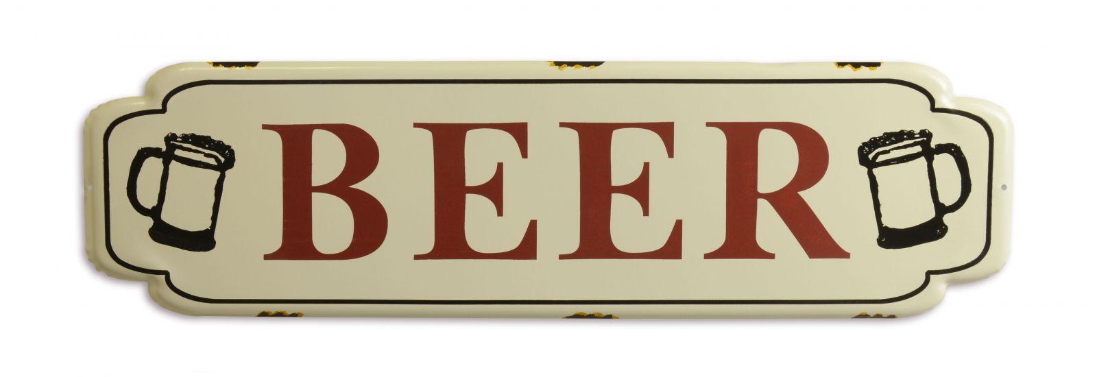 Plechová závěsná cedule - BEER BrokInCZ