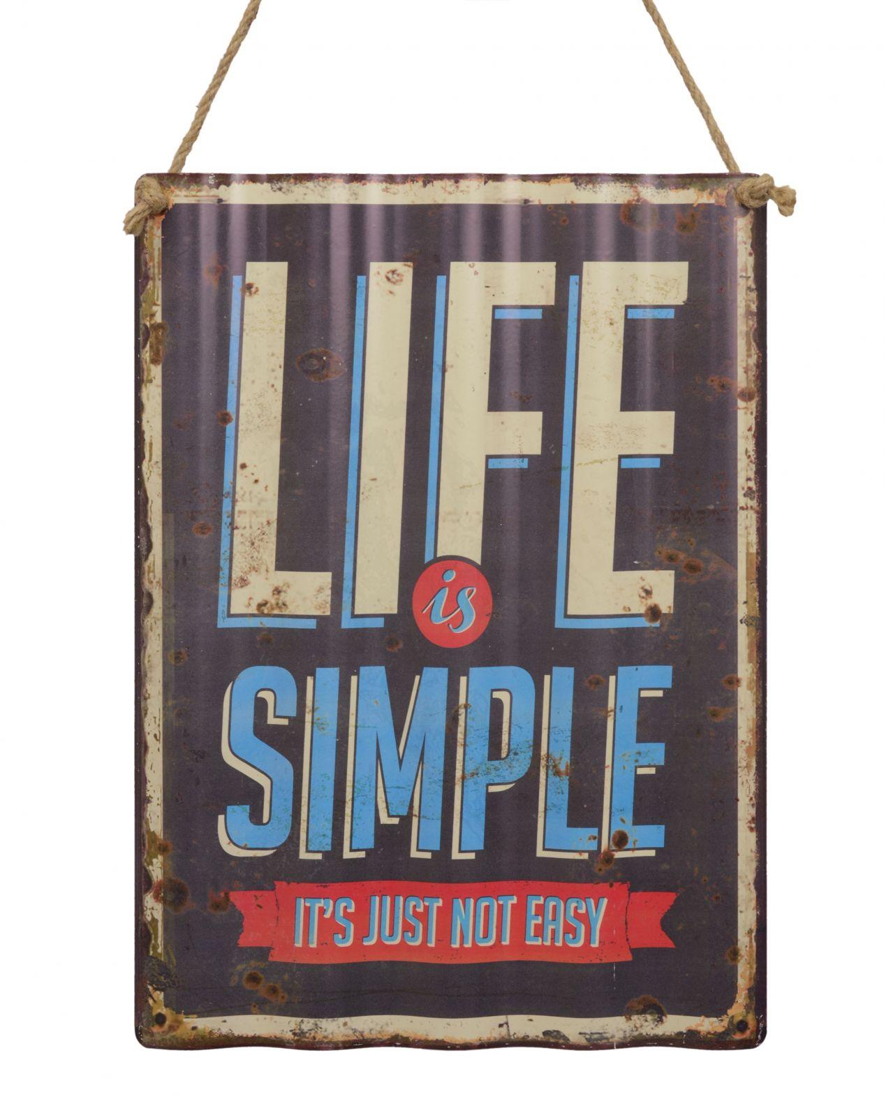 Plechová závěsná cedule - LIFE IS SIMPLE BrokInCZ