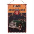 Plechová korigovaná závěsná cedule - Garage Service Repair- Route 66