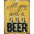Plechová závěsná cedule - All you need is beer