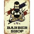 Plechová závěsná cedule - Barber shop