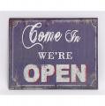 Plechová závěsná cedule - Pojďte dál, máme otevřeno - Come in we're open